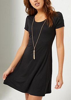 Black Necklace Swing Dress