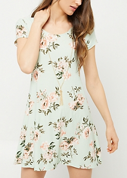 Mint Floral Print Necklace Swing Dress