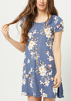Navy Floral Print Necklace Swing Dress