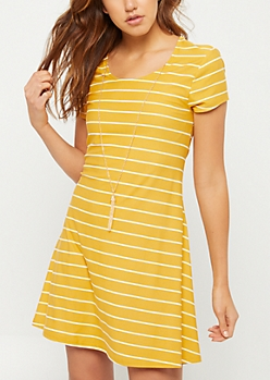 Mustard Stripe Print Necklace Swing Dress