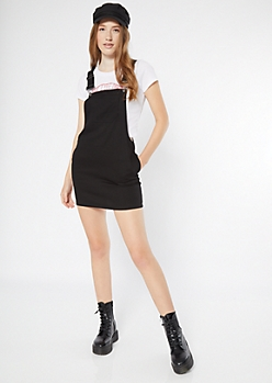 Black Twill Pocket Overall Dress