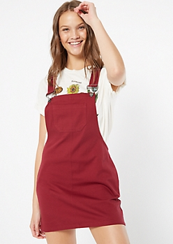Burgundy Twill Pocket Overall Dress