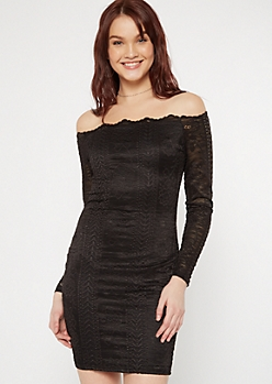 Black Crochet Off The Shoulder Bodycon Dress