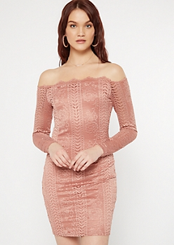 Pink Crochet Off The Shoulder Bodycon Dress