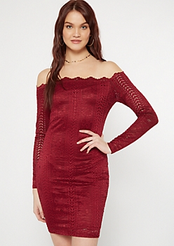 Burgundy Crochet Off The Shoulder Bodycon Dress
