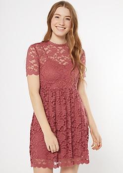 Pink Scalloped Lace Skater Dress