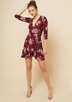 Burgundy Floral Print Tie Skirt Wrap Dress