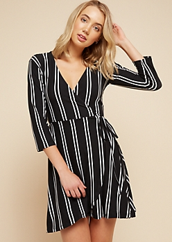Black Vertical Striped Tie Skirt Wrap Dress