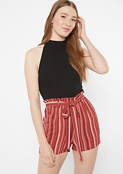 Black Striped Paperbag Waist High Neck Romper