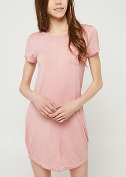 Pink Vintage Wash Pocket T Shirt Dress
