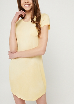 Yellow Vintage Wash Pocket T Shirt Dress