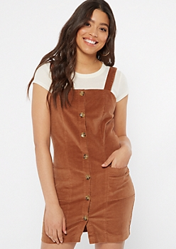 Cognac Corduroy Button Down Sleeveless Overall Dress
