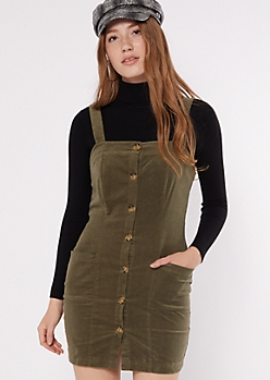 Olive Corduroy Button Down Overall Dress