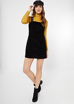 Black Corduroy Buckle Strap Overall Dress