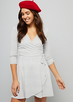 Heather Gray Hacci Wrap Front Skater Dress
