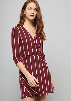 Burgundy Striped Hacci Wrap Front Skater Dress