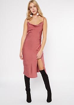 Pink Cowl Neck Satin Midi Slip Dress