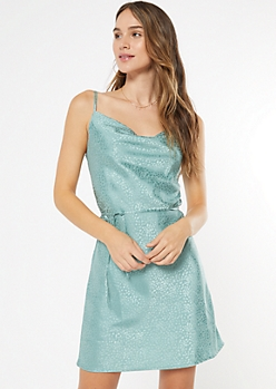 Turquoise Textured Cowl Neck Dress