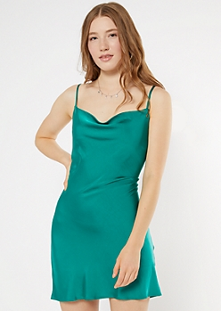 Teal Cowl Neck Satin Mini Dress