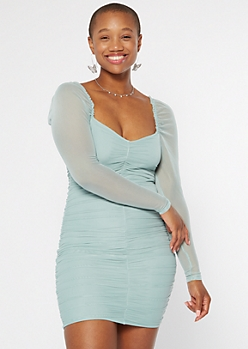 Turquoise Sweetheart Mesh Bodycon Dress