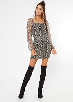 Snakeskin Print Mesh Ruched Bodycon Dress