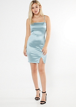 Blue Square Neck Mini Slip Dress