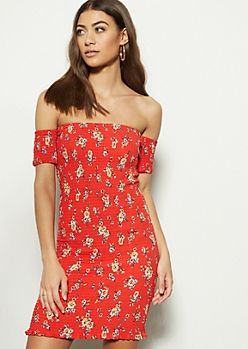 67faffee1494 Red Floral Print Off The Shoulder Smocked Dress