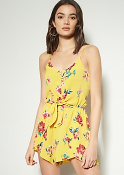 474f81f0a Yellow Floral Print Tie Front Cutout Romper