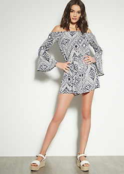 Navy Border Print Bell Sleeve Off The Shoulder Romper