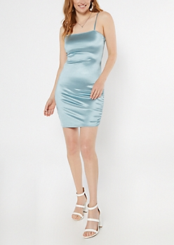 Blue Ruched Side Fitted Slip Dress