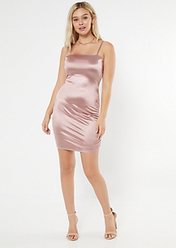 Pink Ruched Side Fitted Slip Dress