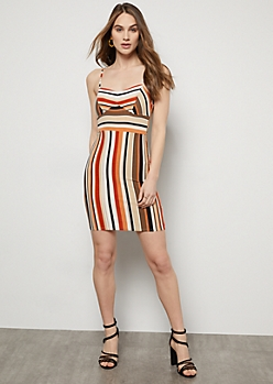 Burnt Orange Striped Super Soft Bustier Bodycon Dress