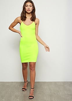 Neon Yellow Mini Bodycon Dress