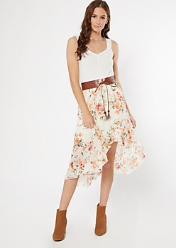 Ivory Floral Print Belted High Low Dress