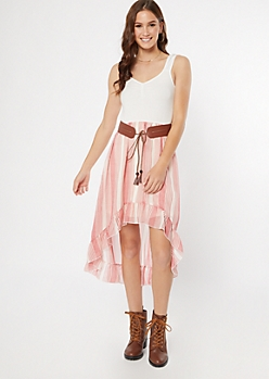 Medium Pink Striped Belted High Low Dress