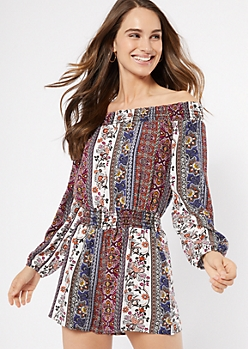 Navy Border Print Off The Shoulder Romper