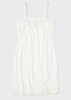 White Eyelet Square Neck Slip Dress