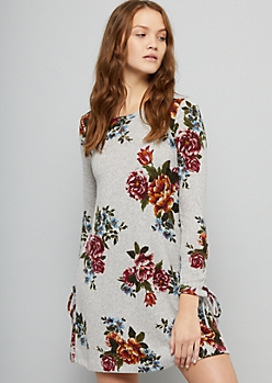 Gray Floral Print Lace Up Sleeve Hacci Dress