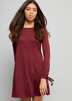 Burgundy Lace Up Sleeve Hacci Dress