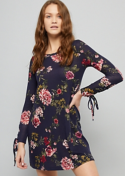 Navy Floral Print Lace Up Sleeve Hacci Dress