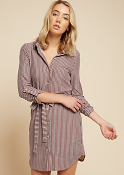 Pink Vertical Striped Belted Shirt Dress