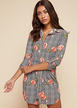 Black Floral Print Houndstooth Belted Shirt Dress
