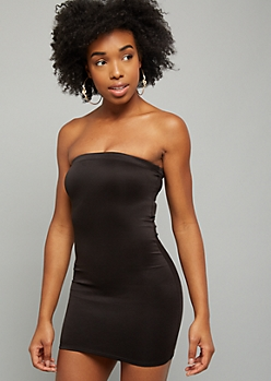 Black Sleeveless Tube Mini Bodycon Dress