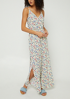 Yellow Floral Print Side Split Jumpsuit