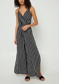 Black Stripe Pattern Side Split Jumpsuit