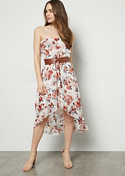 Ivory Floral Print Belted High Low Strapless Dress