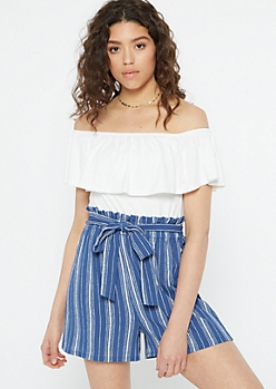 Blue Striped Flounce Paperbag Waist Romper