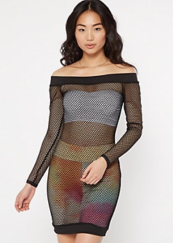 Black Off The Shoulder Long Sleeve Fishnet Dress
