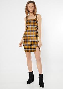 Mustard Plaid Print Square Neck Tank Dress