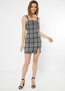 Black Plaid Print Square Neck Tank Dress